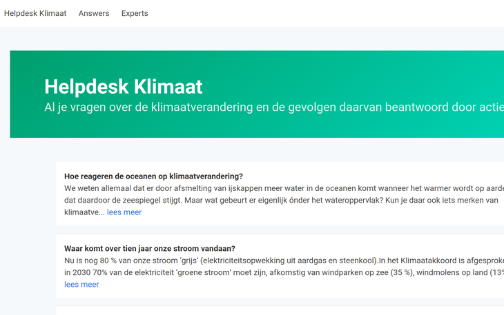 Helpdesk Climate Screenshot Website